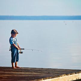 Fishing  by Sabrina Causey - Babies & Children Children Candids ( sling shot, pier, fishing, boy, water, lake, fishing pole,  )