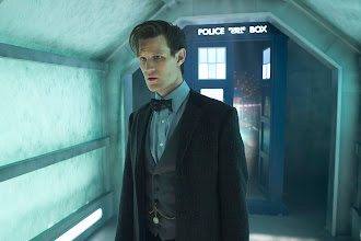 Photo: The Eleventh Doctor and the TARDIS in the Doctor Who Christmas Special 2013, The Time of the Doctor.