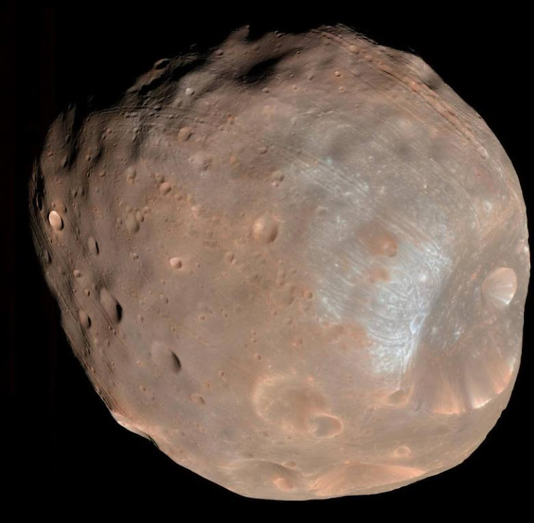 Phobos, the largest of Mar's two moons, taken by the high resolution Imaging Science Experiment (HiRISE) camera on NASA's Mars Reconnaissance Orbiter. Picture: NASA via REUTERS