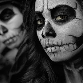Now You See Me by Roy Ardy - Black & White Portraits & People ( portraits of women, black and white, makeup, darkness, conceptual, characters, portrait )