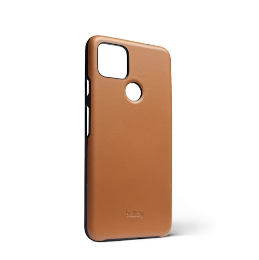 Angled view of the Bellroy Leather Case for Google Pixel 5a (5G) in toffee.