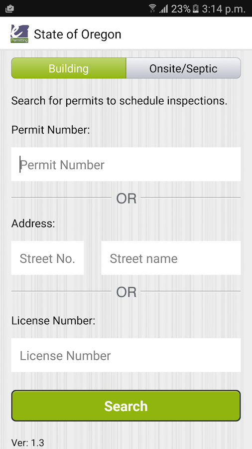 Oregon ePermitting Inspections- screenshot