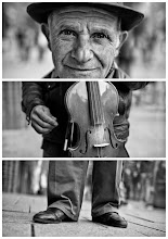 "Photo: Triptychs of Strangers #26, The Fingercounting Violonist  About this shot You might have seen his portrait a couple of days ago, I liked it so much and simply had to post it as well.  This was taken during a lunch break two weeks ago. At that time I had not talked to a stranger for almost three weeks. Most of you know you have to grow balls with every street session. I took me five minutes to ask for a triptych composition I already had in mind by then.  You all know usually there's not much time. But in this case there was no need to hurry - this guy was playing violin for money and therefore not moving for a while. Sounds like a quite easy street shoot, doesn't it? Well it was not, our stranger #26 spoke neither german nor english :-)  About this stranger Meet, Peterica. He is 61 years old and originally from Bukarest, Romania. 2 years ago he came to Hamburg with his 1 wife and his 4 younger kids in the hope of finding a better life. He is and has always been an musician, he started playing violin at the age of 6, which makes 55 years in total. He has also given violin classes for 40 years in his hometown.  His favorite song could be ""O sole mio"", at least he was playing it most of the time.  What else can I say … yeah, how did we actually talk? Well, the answer is: I have an app for that > http://bit.ly/rEFoFa   And now guess how he gave me the answers ;-)  Our strangers #26 can only be ""The Fingercounting Violonist""  #PlusPhotoExtract"