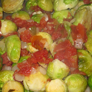 Spicy Brussel Sprouts and Tomatoes.