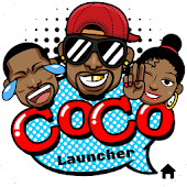 CoCo Launcher - Black Emoji, 3D Theme