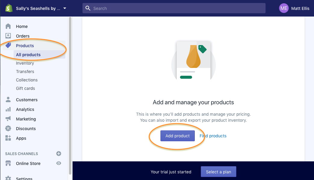 Add products in the Shopify website builder editor