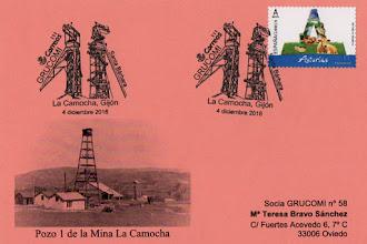 Photo: Tarjeta del matasellos de la XXI Exposición de Coleccionismo Minero de GRUCOMI, La Camocha