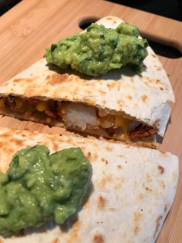 Chorizo And Shrimp Quesadillas With Smoky Guac