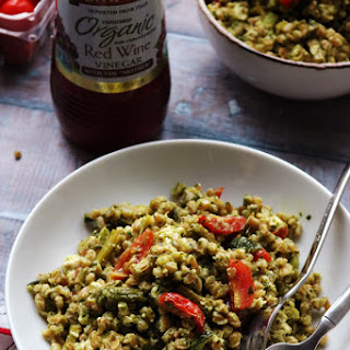 Roasted Spring Vegetable Farro Bowls with Thai Green Curry Pesto.