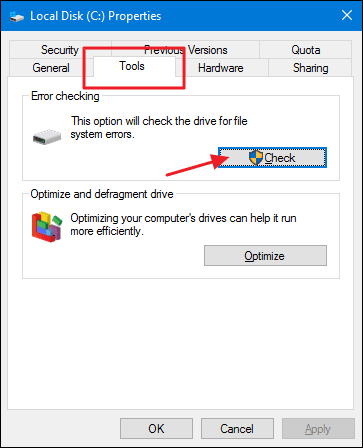 Disk error checking