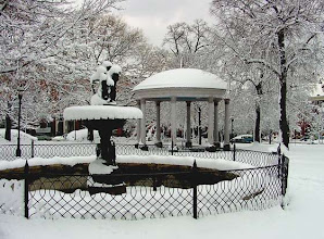 Photo: Union Square Park fountain and pavilion in blizzard of 2010