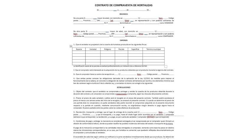 Modelo tipo de contrato presentado por Coag.