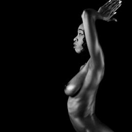 April Darkly Profile Prayer Pose by Ian Cartwright - Nudes & Boudoir Artistic Nude ( nude, monochrome, prayer hands, naked, woman, profile )