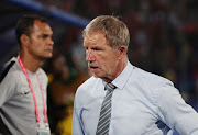Embattled Bafana Bafana Stuart Baxter cuts a frustrated figure in his technical area during a 1-0 Afcon defeat against Morocco in Cairo on July 1 2019.