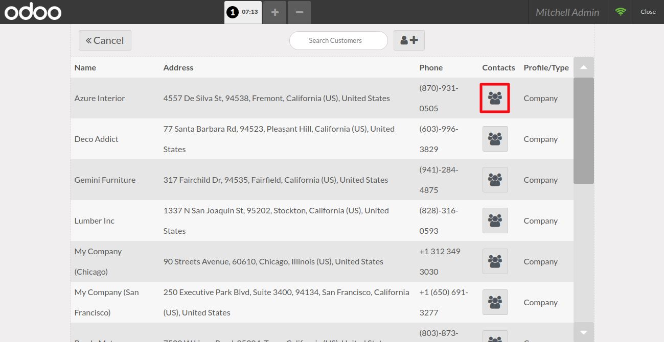 Press the icon to show all the contacts & addresses of the selected customer.