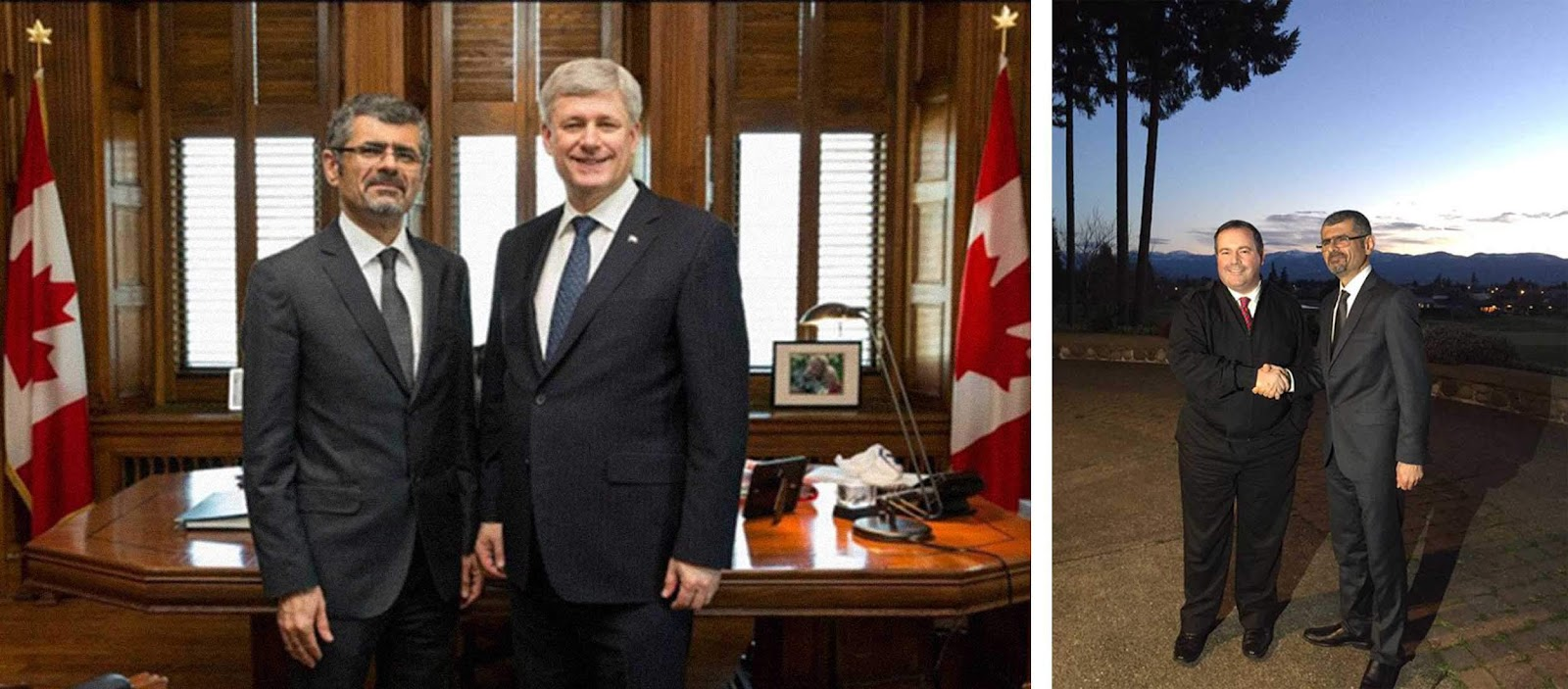 Left: Then-prime minister Stephen Harper and Dr. Saren Azer in 2015 (PMO photo). Right: Azer with  Jason Kenney in a photo the then-defence minister sent out to his 50,000 Twitter followers March 2, 2015.