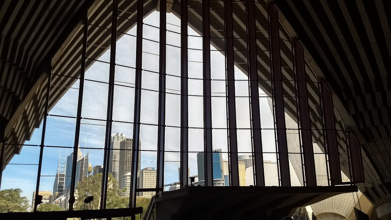 View of the Sydney skyline from inside the Opera House