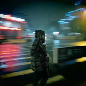 by Bobby Dozan - People Street & Candids ( panning, cold, street, candid, night, blur, people )