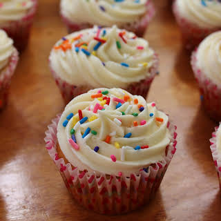 Sprinkle Birthday Cake Cupcakes with Vanilla Frosting (gluten free).
