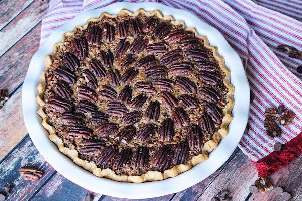 Bourbon Chocolate Pecan Pie Ready To Be Sliced.