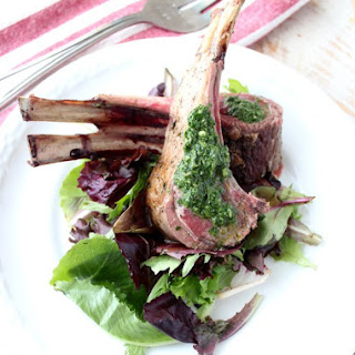 Herb Butter Roasted Rack of Lamb with Mint Chimichurri Recipe