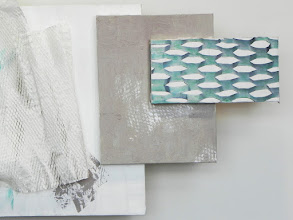Photo: detail: WHITE GRID/PAPER UNDULATING showing scan and stenciling
