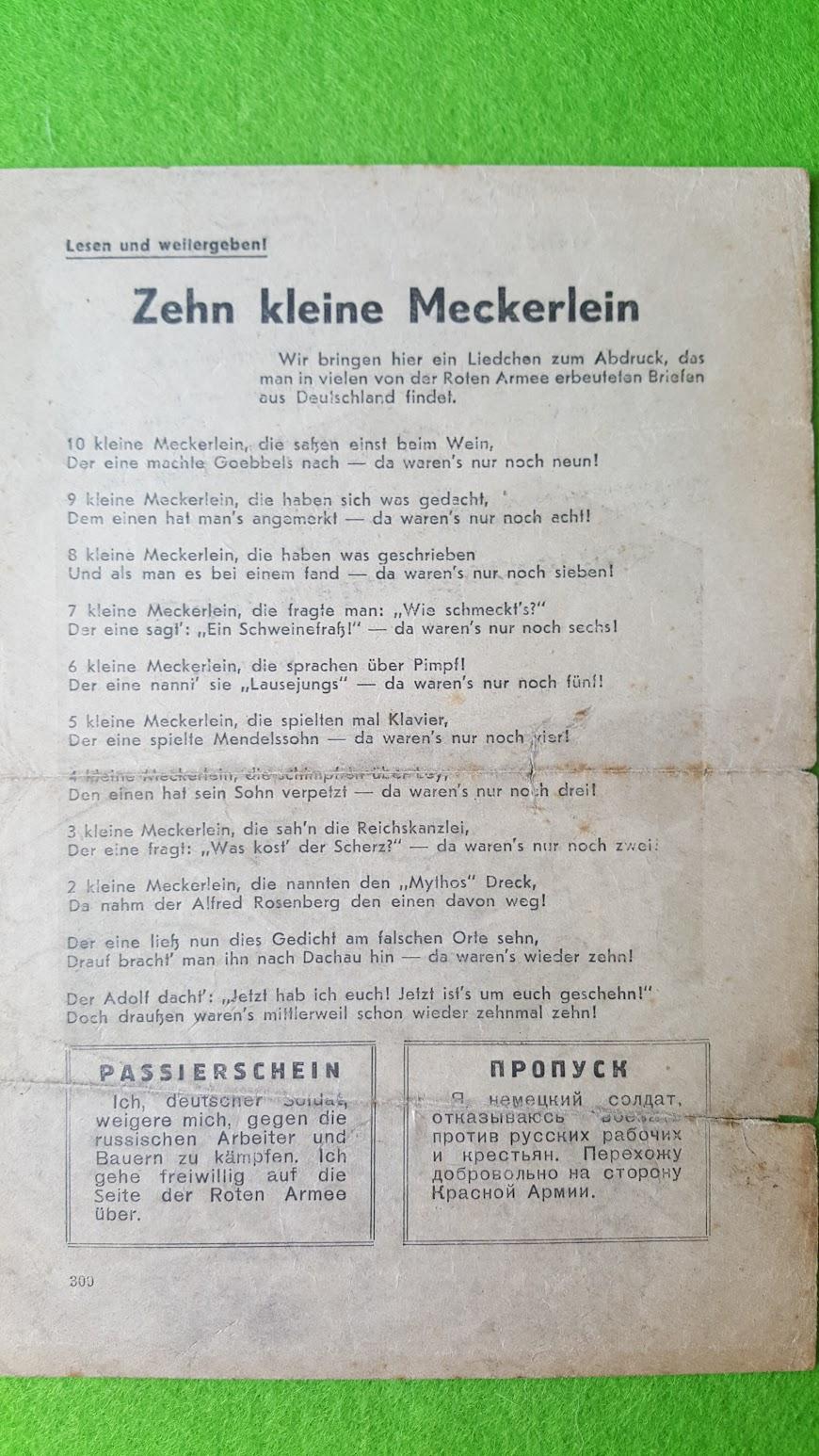 Sowjetisches Flugblatt - September 1941 - Zehn kleine Meckerlein