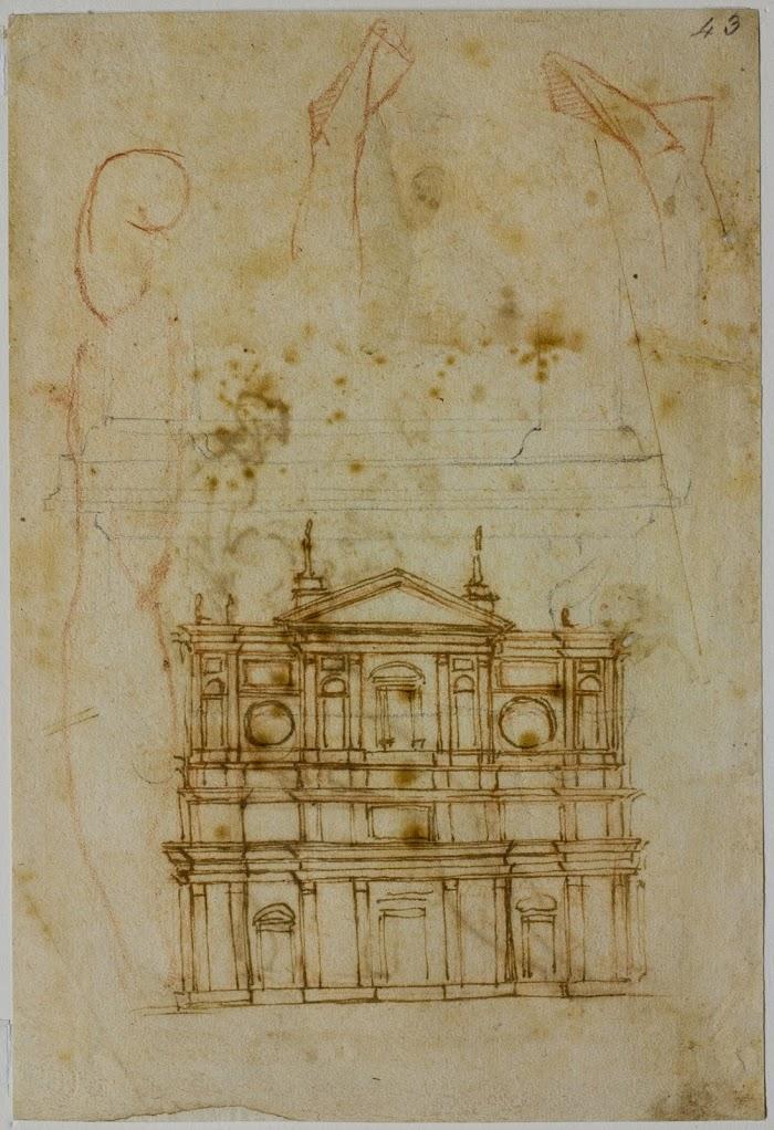 Michelangelo Buonarroti, Studio per la facciata di San Lorenzo, Firenze, Casa Buonarroti, inv. 43 E