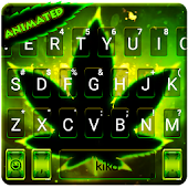 Live Neon Green Leave Keyboard Theme