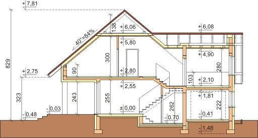 Dom przy Cyprysowej 25 - Przekrój