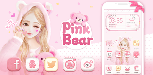 Pink Bear Hola Theme for PC