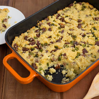 Cornbread Dressing with Andouille Sausage.