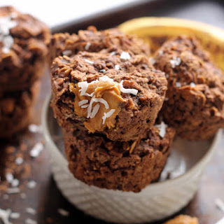 Chocolate Peanut Butter Protein Baked Oatmeal Cups