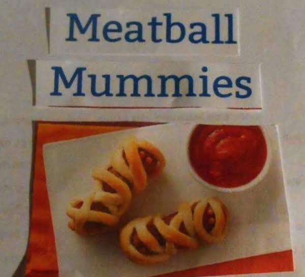 Meatball Mummies..    A Pillsbury Crescent Recipe