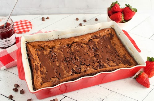 Double Chocolate Strawberry Gooey Butter Cake