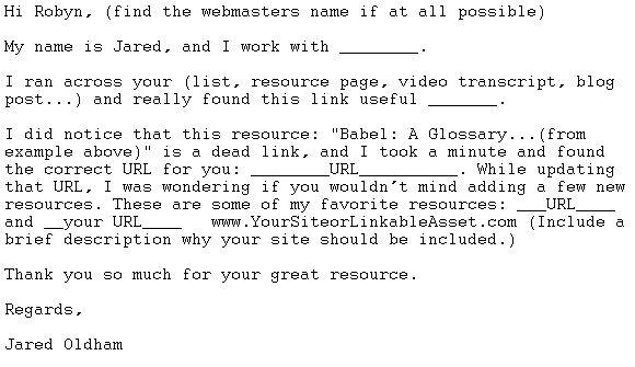 Ví dụ về email tiếp cận xây dựng liên kết bị hỏng