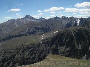 Photo: Longs Peak, Pagoda Mountain, Chiefs Head Peak, McHenrys Peak, and Taylor Peak.