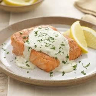 Grilled Salmon with Creamy Pesto Sauce.