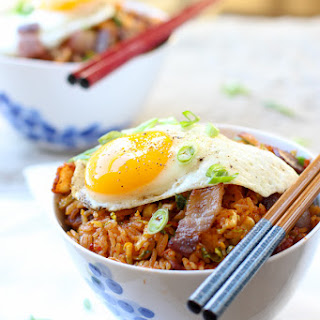 Brussels Sprout Bacon Kimchi Fried Rice