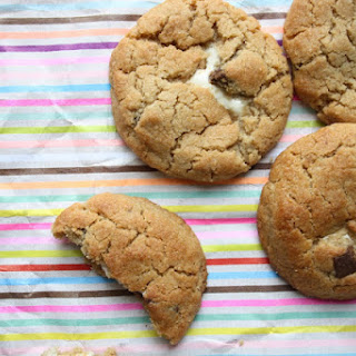 Marshmallow Stuffed Peanut Butter Chocolate Chunk Cookies.