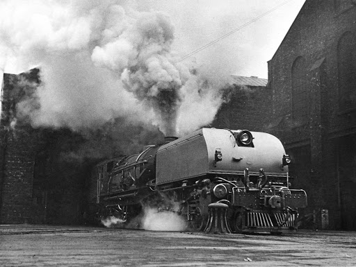 A Garratt steam locomotive being prepared for a test run at the Beyer, Peacock & Co works in Manchester, UK, before being disassembled for shipping to SA in 1946Picture: FOX PHOTOS/HULTON ARCHIVE/GETTY IMAGES