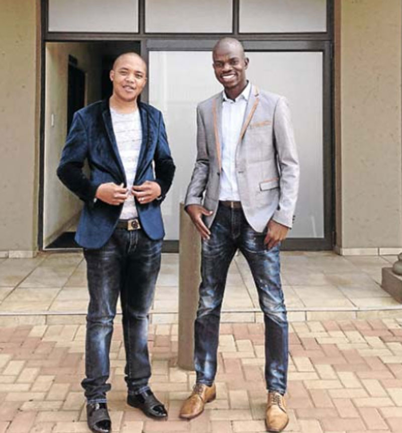 Themba Makamo, left, and his business partner, Oscar Dlamini, opened their company, Manyano Memorials, in 2016.