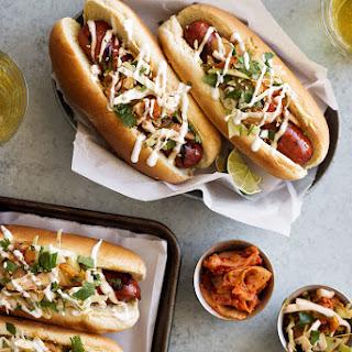 Soy Glazed Spicy Korean Kimchi Hot Dogs.