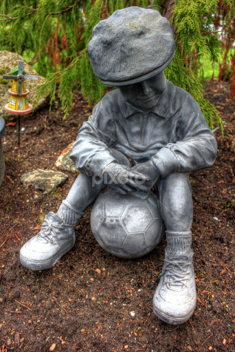 Gentil Little Boy And His Soccer Ball By Ernie Kasper   Artistic Objects Still  Life ( Shoes
