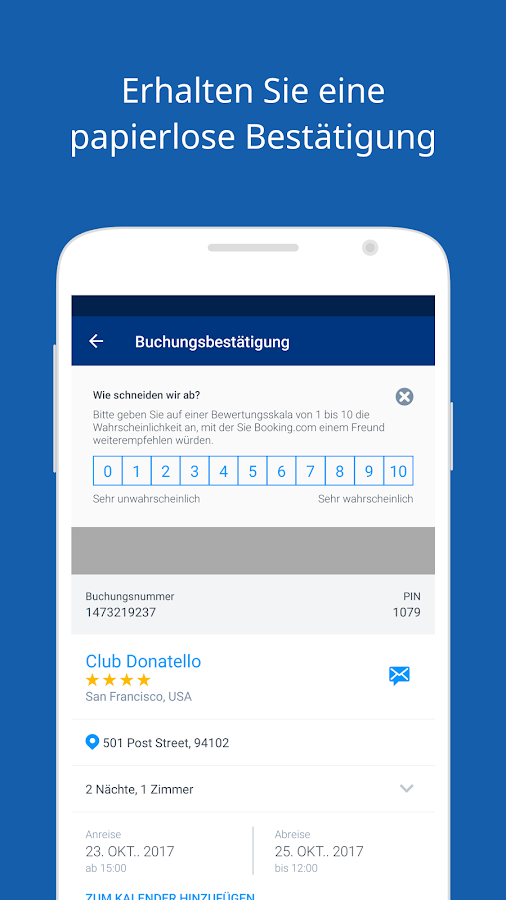 Booking.com Hotel-Buchungen – Screenshot
