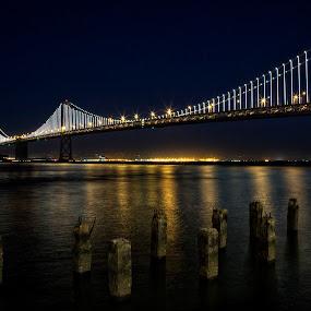 San Francisco Bay Bridge w/LED Lighting by Terry Scussel - Landscapes Waterscapes ( bay bridge with led lightshow, bay bridge at night, bay bridge, night, lights )