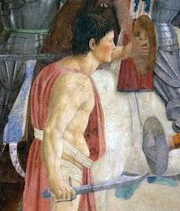 Piero della Francesca,Battaglia di Eraclio e Cosroè, affresco (particolare soldato nudo), Basilica di San Francesco, Arezzo