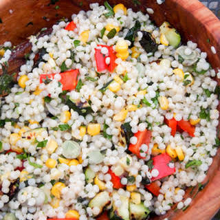 Israeli Couscous with Grilled Vegetables.