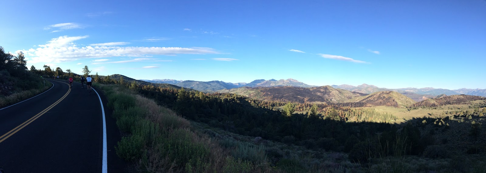 Climbing Monitor Pass West by bike - panorama view of mountains and forest