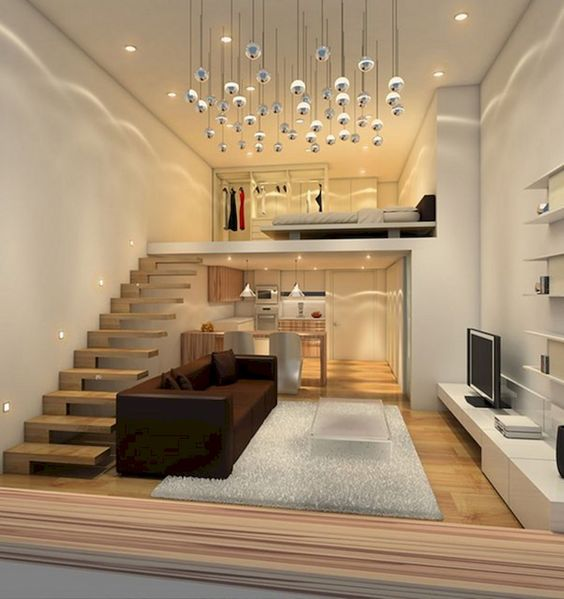 Loft Bed Over The Kitchen In A Studio Apartment